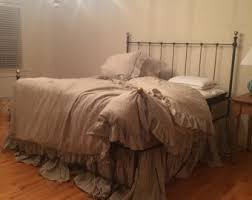 extra long bed skirt.  Extra King Ruffled DuvetGathered Extra Long Bed SkirtPair Of Pillowcase  Shams Or 3 EURO SHAMSAll In Natural Flax Washed Handkerchief Linen In Skirt G