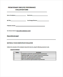 Employee Evaluation Forms Examples Employee Evaluation Form