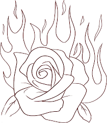 Rose Flame Flowers Coloring Pages Free Printable Coloring Pages For