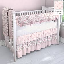 white and pink rosettes nursery idea customizable crib bedding set carousel designs