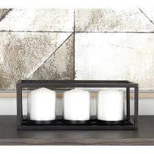 black iron and clear glass 3 pedestal rectangular candle holder 54262 the home depot