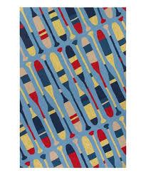 blue yellow oars indoor outdoor rug
