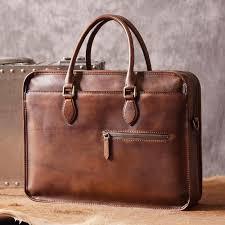 luxury vintage leather briefcase shoulder laptop business bag for men brown