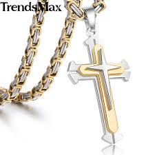 <b>Men's</b> Cross <b>Necklace</b> Gold Silver Black Cross <b>Pendant Stainless</b> ...