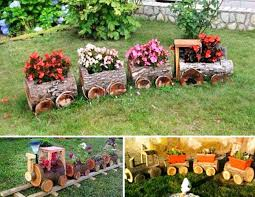 log train flower pots creative ways to add color and joy to a garden