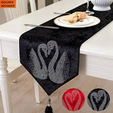 Designer Dining Table Mats Us 18 9 European Style Table Cloth Luxury Dining Table Runners Mats Red Black Bed Flag Swan Married Items Home Textile High Quality In Table Runners
