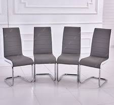 faux leather restaurant dining chairs. 4 x faux leather dining restaurant chairs with chrome legs grey seat white side n