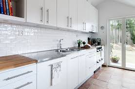 R Clean White Tile Backsplash Kitchen