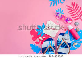 Vibrant Header Feminine Summer Vacation Essentials Header Colorful Stock Photo