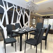 panana modern glass dining table set and with 6 faux leather chairs black uk