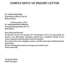 Sample Cover Letter Business Inquiry Letter For Business Reply Inquiry Letter Business Letter