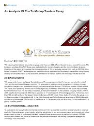 tourism essay argumentative essay of abortion example essay on  ukessays com an analysis of the tui group tourism essay