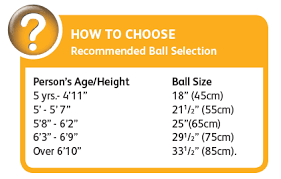 Exercise Ball Size Chart 55cm Smart Stability Ball