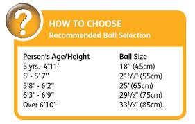 Body Ball Size Chart 75cm Smart Stability Ball