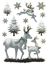 Deko Punkt Roth Fenstersticker Set 12 Tlg Selbstklebend Rehe Hirsch Rentier Fensterbilder Wald Schneeflocken Weihnachten Winter Herbst Aufkleber