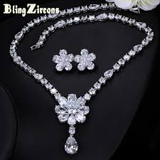 blingzircons beautiful big flower pendant necklace and earrings women cubic zirconia elegant wedding bridal jewelry sets