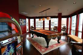 pool table rug billiards family room eclectic with red walls box ideas pool table rug