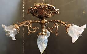 1920 s french bronze flush mount chandelier