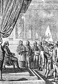 benjamin franklin   american author  scientist  and statesman    louis xvi  seated  receiving benjamin franklin  bowing   the american commissioner to