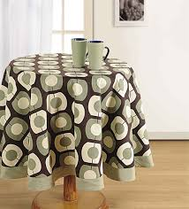 swayam olive green n brown 6 seater round table cover by swayam table cloths furnishings pepperfry