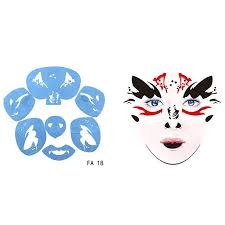 1pcs soft reusable tattoo temporary template blooder face paint stencil face painting stencils makeup drawing