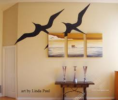 large canvas paintings with wall mural graphic of birds