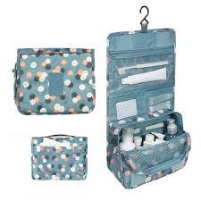 uni blue print hanging travel storage bag zip lock bag useful cosmetic bag carry toiletry organizer