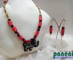 terracotta jewellery black elephant pendant set
