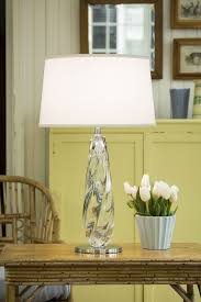 pale green room decor with hand blown clear venetian glass table lamp