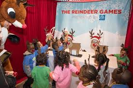 tip the reindeer toss the bean bags to tip over the lineup of santa s reindeer antler ring toss catch as many rings as you can onto the reindeer s