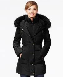 jones new york faux fur trim down coat
