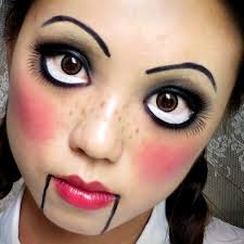 doll with red cheeks makeup
