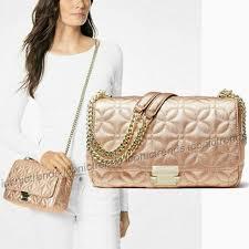 michael kors sloan 30h8tsll3k lt rose lg chain shoulder leather purse