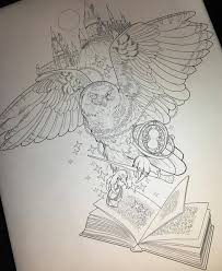 эскиз тату совы с волшебной палочкой и книгой на фоне хогвартса