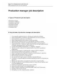 Assembly Line Job Description For Resume Resume Production Manager Manufacturing Best Of Pleasing Sample 97