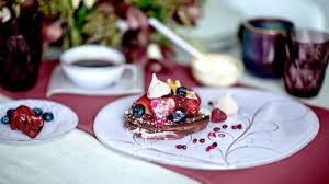 coloured glass dessert plates appetizer plates in an elegant table setting with pancakes by anna