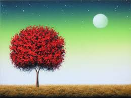 original oil painting red tree painting canvas art abstract tree art surreal