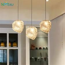 Restaurant Ceiling Lights Modern White Crystal Ice Glass Kitchen Home Living Dining