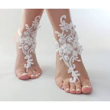 White Or Ivory Foot Jewelry Beach Wedding Barefoot Sandals Wedding Foot Jewelry