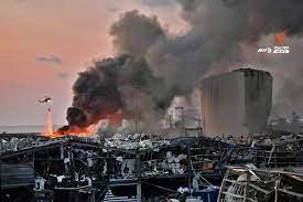 ภาพความเสียหายเหตุระเบิดที่ท่าเรือในกรุงเบรุต ประเทศเลบานอน