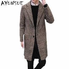 Fashion <b>Medium Long</b> Cashmere Coat <b>Men</b> Brand Clothing Turn ...