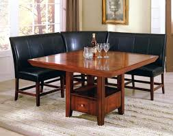 high chair dining room set furniture square brown wooden table and l shaped black leather bench
