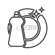 dishwasher clipart black and white. dishwasher detergent: detergent and plate clipart black white