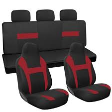 10pc full set red black integrated chair bench suv high back car seat covers