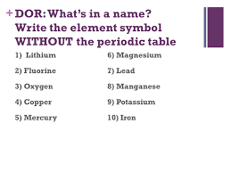 DOR: What's in a name? Write the element symbol WITHOUT the ...