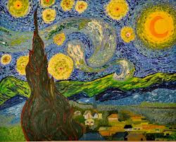 landscape painting my starry night inspired by the master vincent van gogh by evelyn spatz