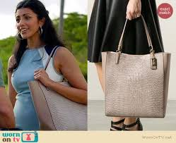 Coach Madison North South Bonded Tote worn by Reshma Shetty on Royal Pains