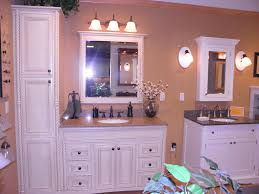 white stained bathroom cabinets and bath vanity combine brown marble top with recessed medicine cabinet and