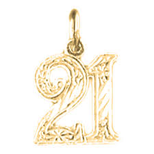 sterling silver number twenty one 21 pendant rhodium yellow or rose gold