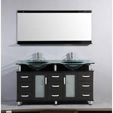 60 double sink bathroom vanities. 60-inch Freestanding Double Espresso Wood Bathroom Vanity - Include Clear  Vessel Sinks, Faucets, Mirror 60 Sink Vanities